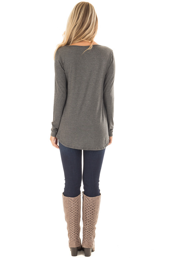 Charcoal Long Sleeve Top with T Strap Neckline Detail back full body