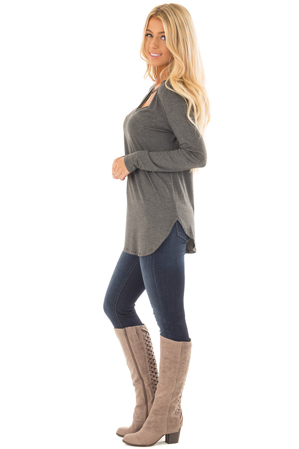 Charcoal Long Sleeve Top with T Strap Neckline Detail side full body
