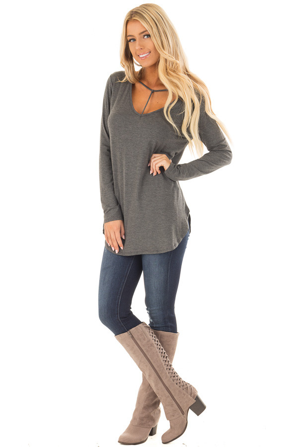 Charcoal Long Sleeve Top with T Strap Neckline Detail front full body