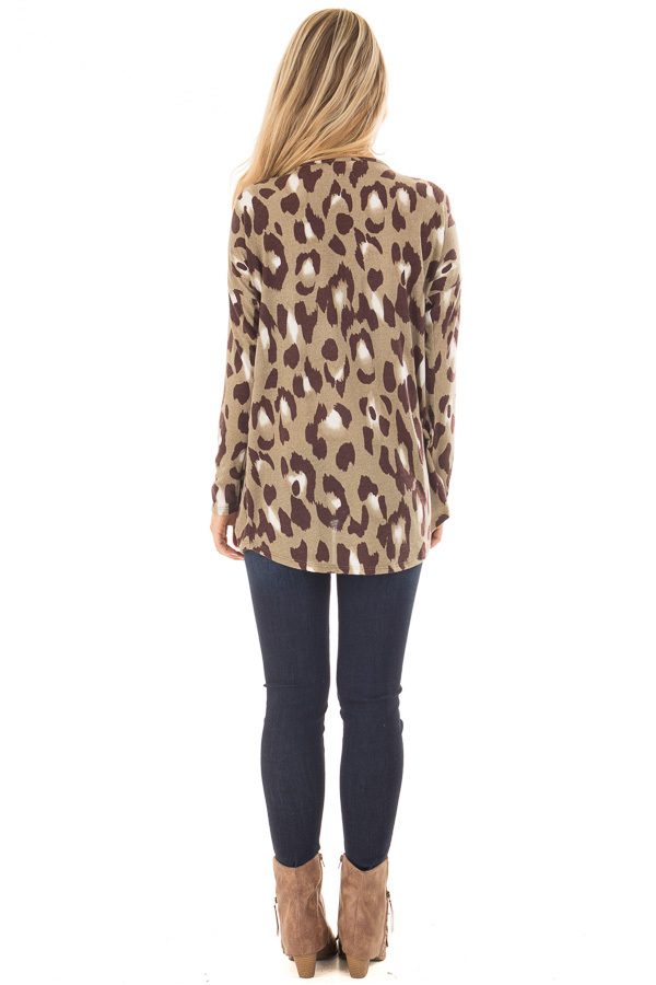 Dusty Sage Leopard Print Top with Front Twist Detail back full body