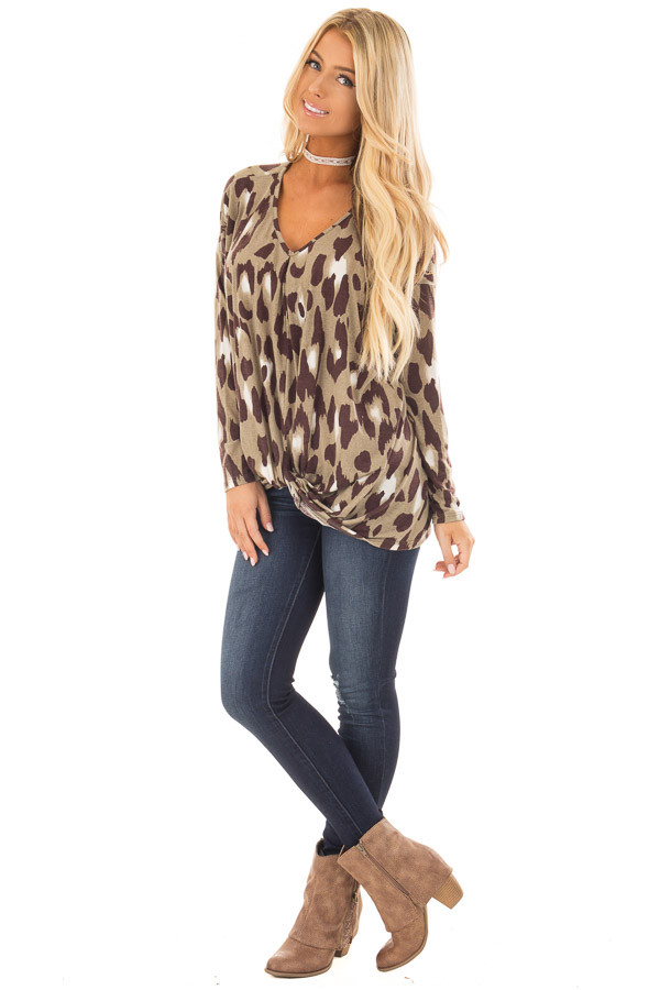 Dusty Sage Leopard Print Top with Front Twist Detail front full body