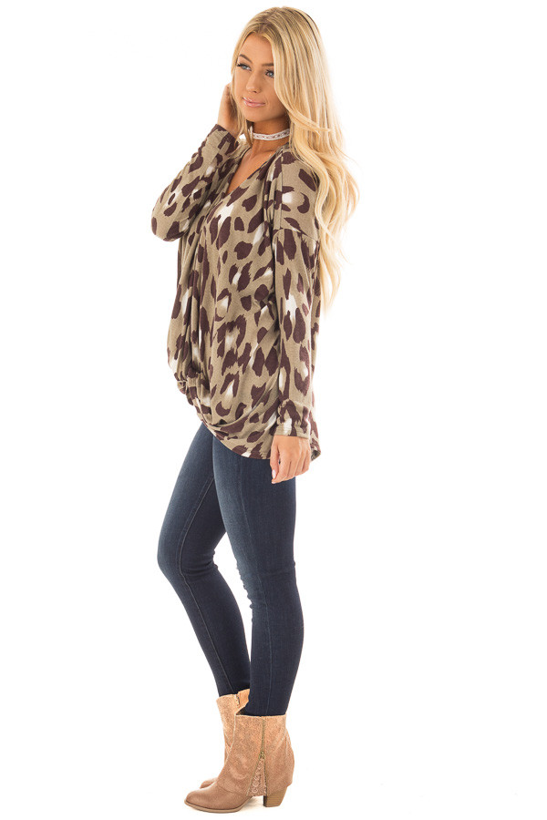 Dusty Sage Leopard Print Top with Front Twist Detail side full body