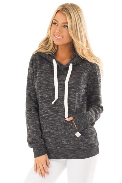 Black Two Tone Pull Over Comfy Hoodie front close up
