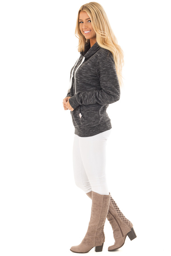 Black Two Tone Pull Over Comfy Hoodie side full body
