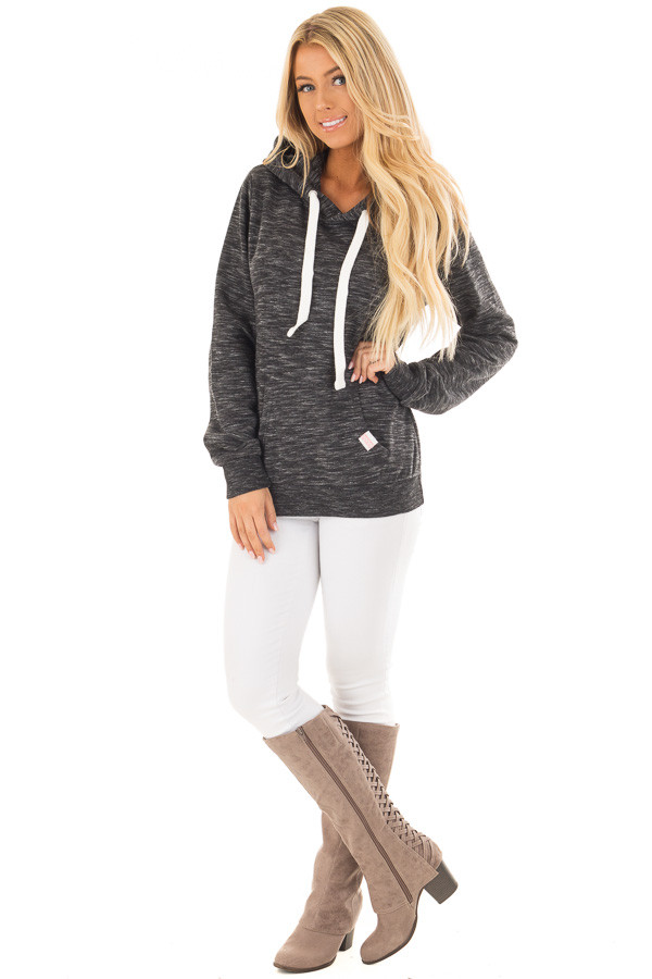 Black Two Tone Pull Over Comfy Hoodie front full body