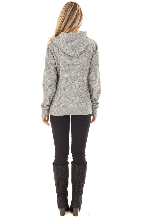 Grey Two Tone Pull Over Comfy Hoodie back full body