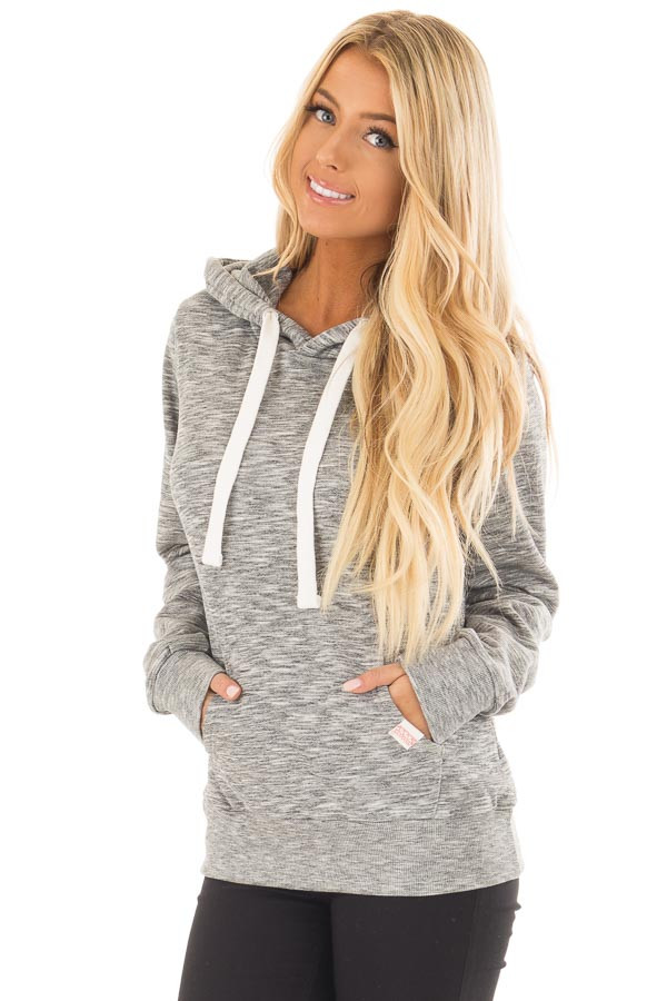 Grey Two Tone Pull Over Comfy Hoodie front close up