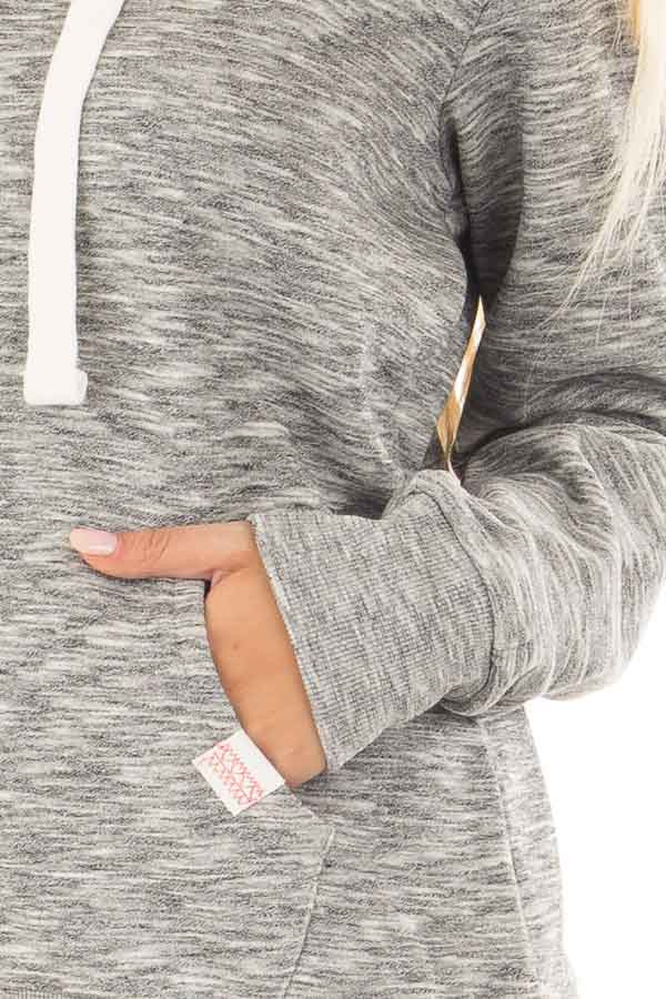 Grey Two Tone Pull Over Comfy Hoodie detail
