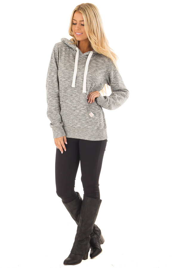 Grey Two Tone Pull Over Comfy Hoodie front full body