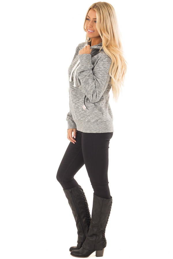 Grey Two Tone Pull Over Comfy Hoodie side full body