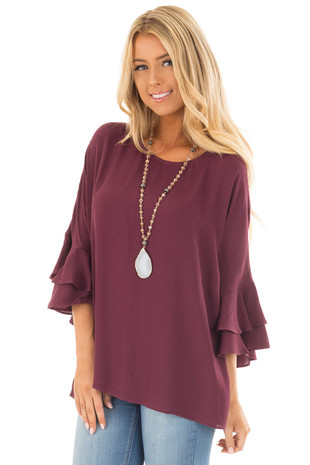 Wine Blouse with Tiered Flare Sleeves front close up