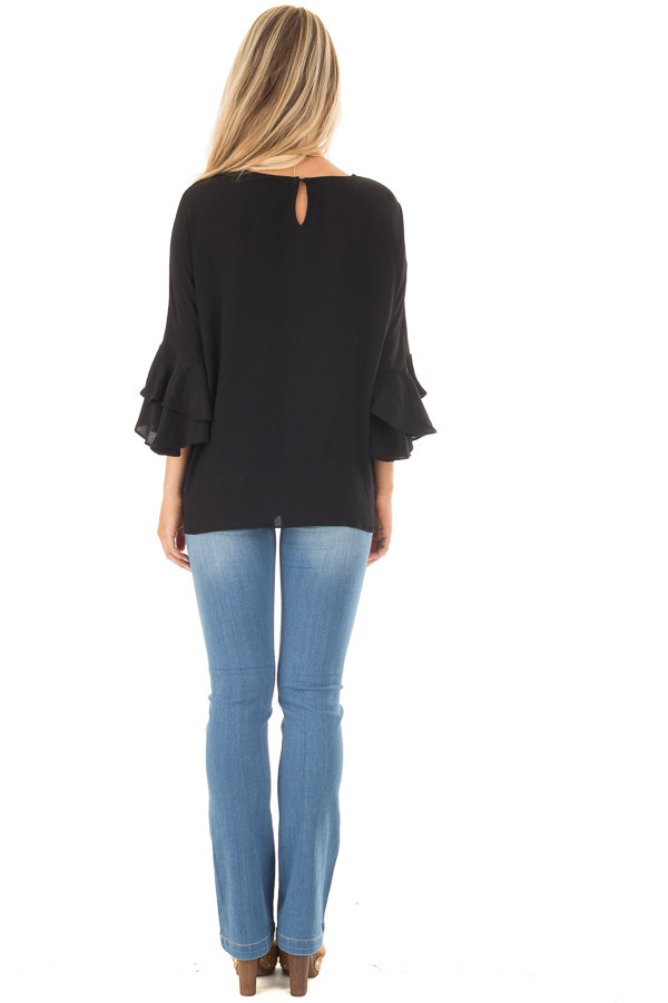 Black Blouse with Tiered Flare Sleeves back full body