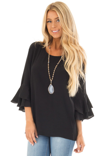 Black Blouse with Tiered Flare Sleeves front close up