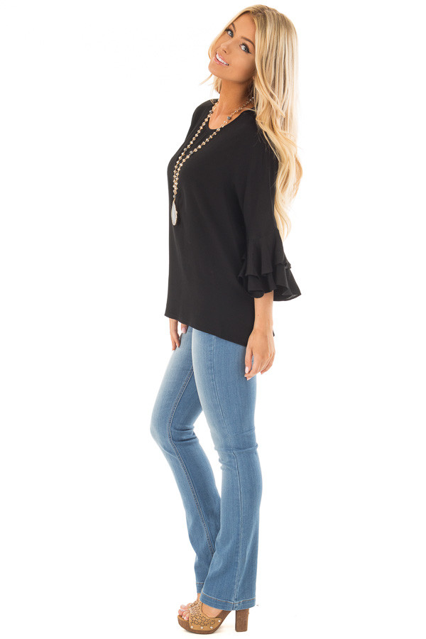 Black Blouse with Tiered Flare Sleeves side full body