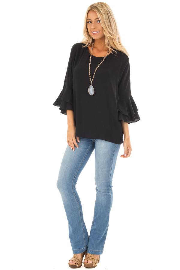 Black Blouse with Tiered Flare Sleeves front full body