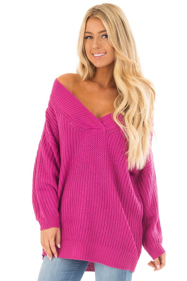 Fuchsia Long Sleeve V Neck Sweater front close up