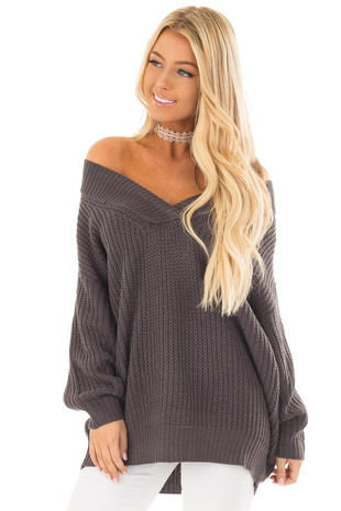 Charcoal Long Sleeve V Neck Sweater front close up