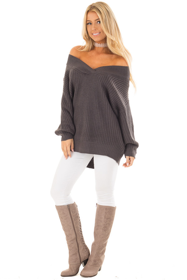 Charcoal Long Sleeve V Neck Sweater front full body