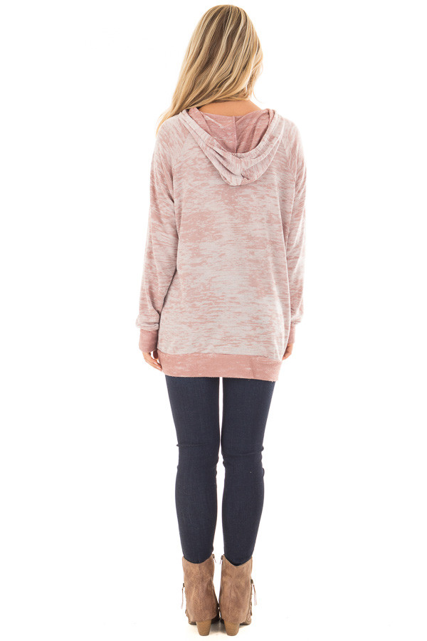 Dusty Pink Faded Hoodie with Contrasted Pocket back full body