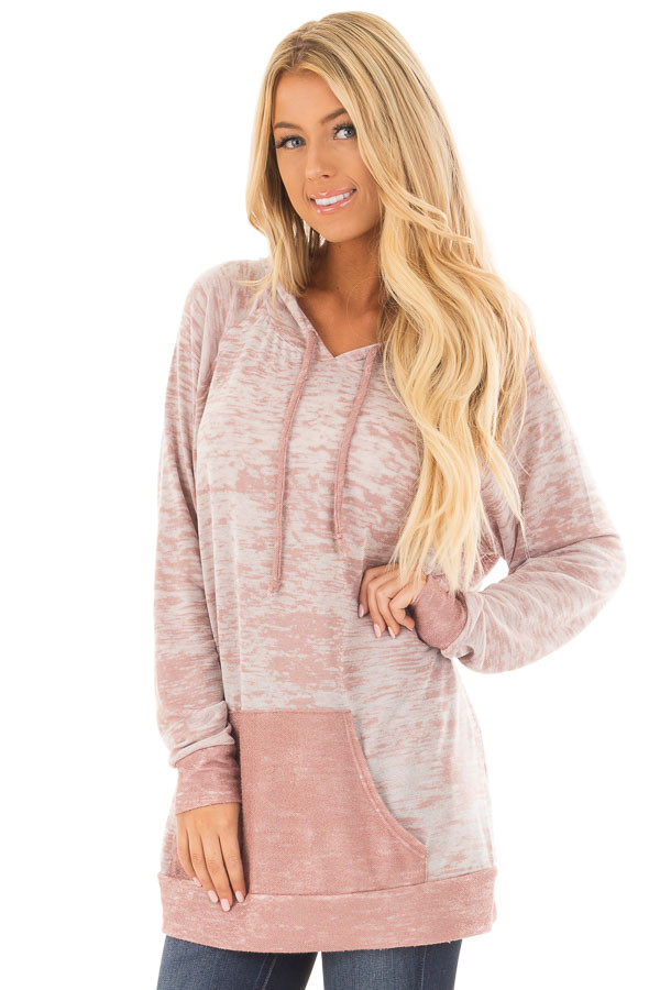 Dusty Pink Faded Hoodie with Contrasted Pocket front close up