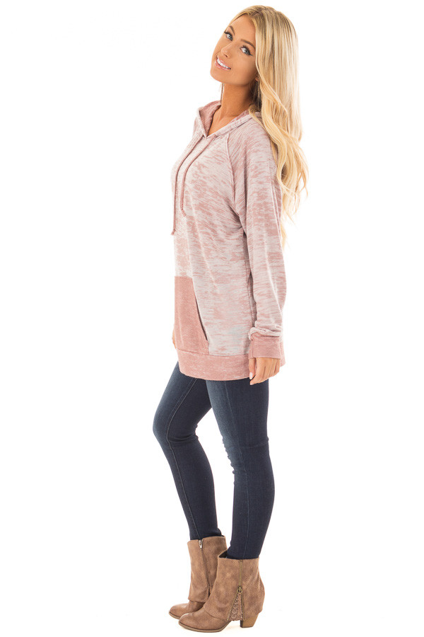 Dusty Pink Faded Hoodie with Contrasted Pocket side full body