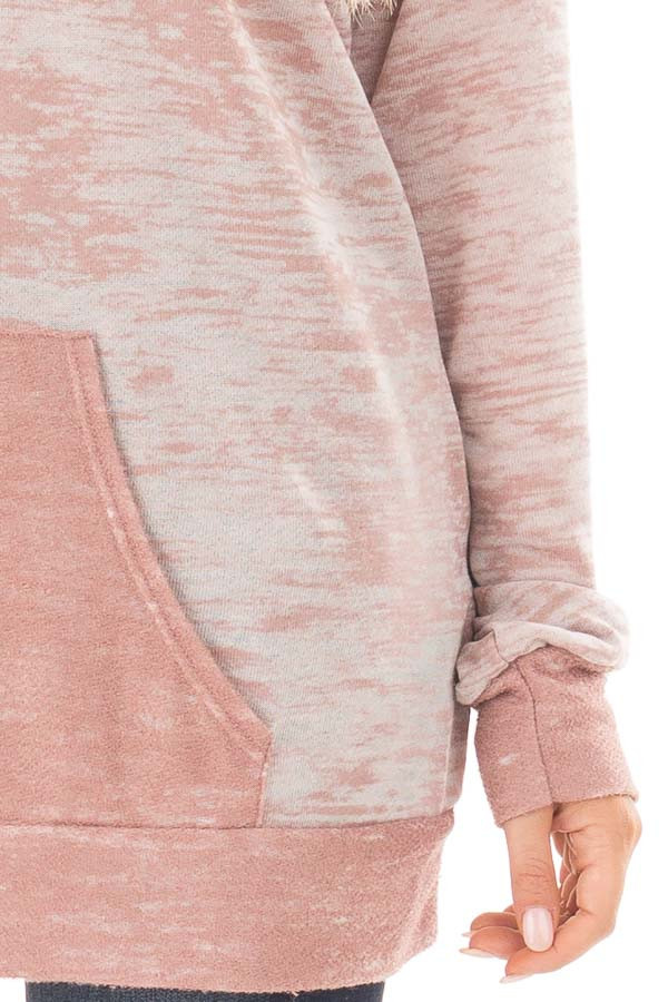 Dusty Pink Faded Hoodie with Contrasted Pocket detail