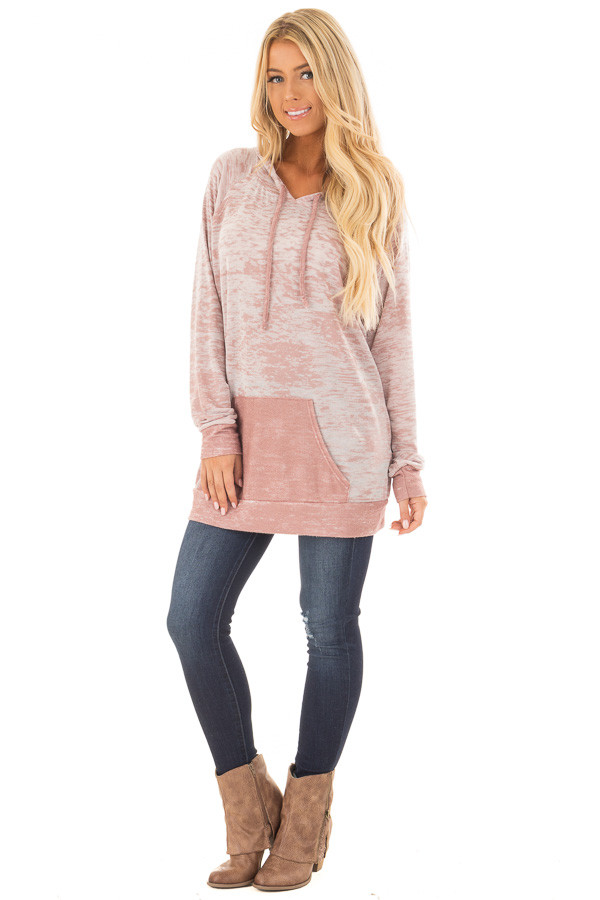 Dusty Pink Faded Hoodie with Contrasted Pocket front full body