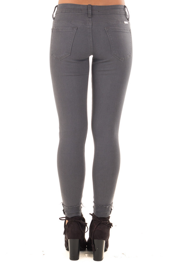 Charcoal Cropped Skinny Jeans with Distressed Details back view