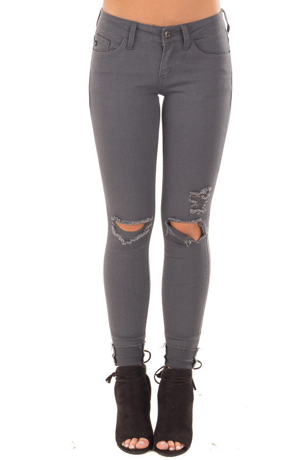 Charcoal Cropped Skinny Jeans with Distressed Details front view