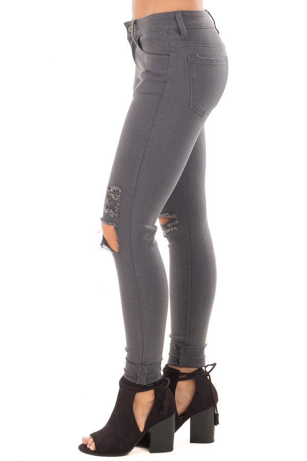 Charcoal Cropped Skinny Jeans with Distressed Details side view