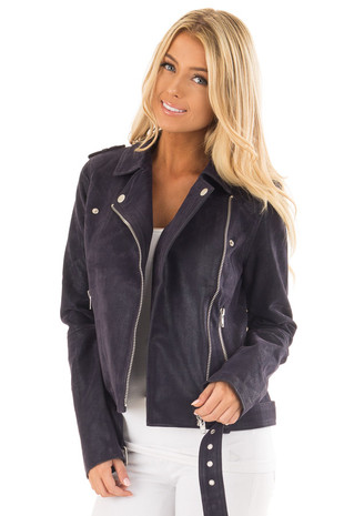 Navy Faux Suede Moto Jacket with Asymmetrical Zipper front close up