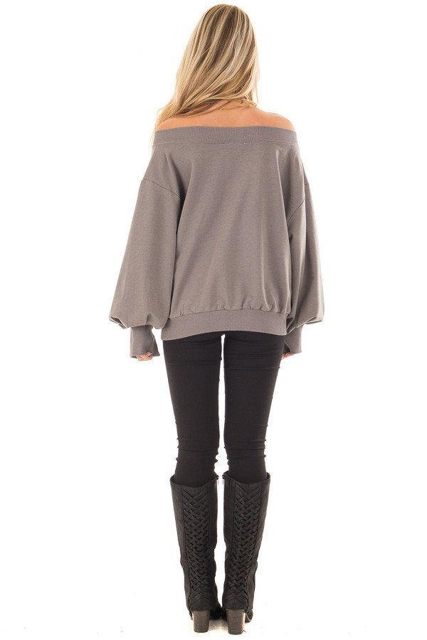 Charcoal Off the Shoulder Long Sleeve Sweatshirt Top back full body