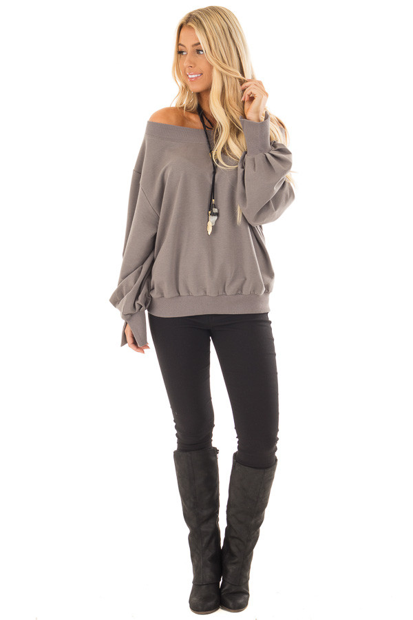 Charcoal Off the Shoulder Long Sleeve Sweatshirt Top front full body