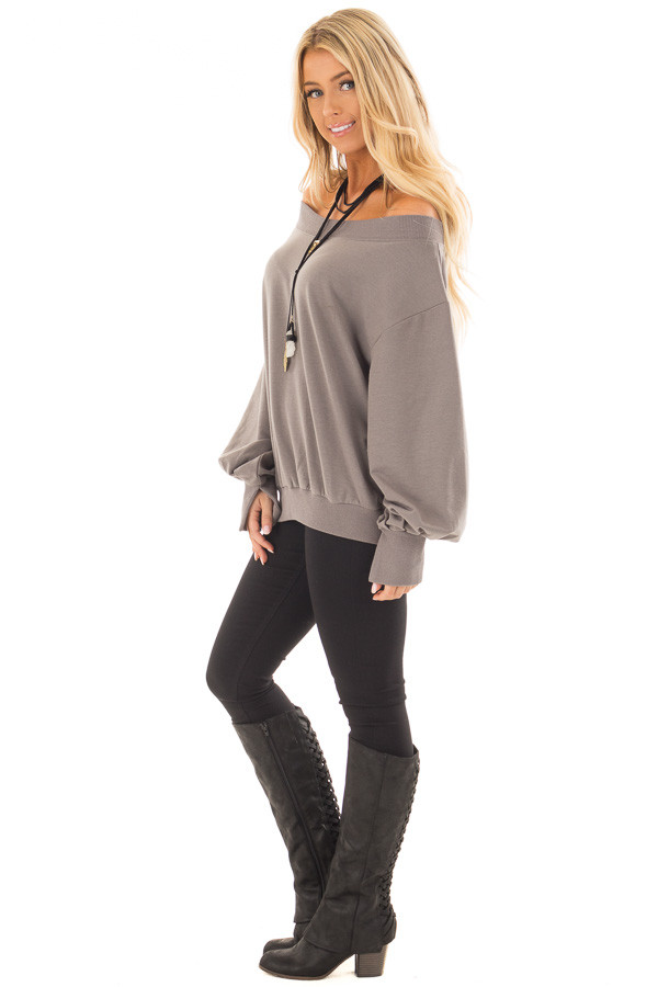 Charcoal Off the Shoulder Long Sleeve Sweatshirt Top side full body