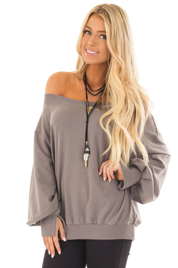 Charcoal Off the Shoulder Long Sleeve Sweatshirt Top front close up