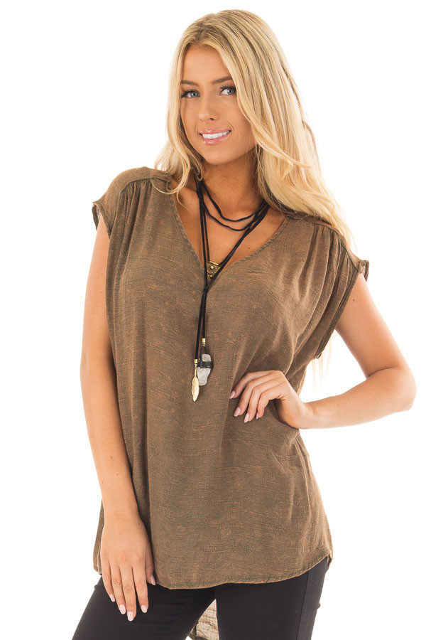 Dark Olive Sleeveless V Neck Top front close up
