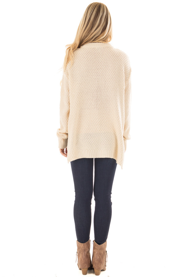 Ivory Cable Knit V Neck Sweater with Choker Band back full body