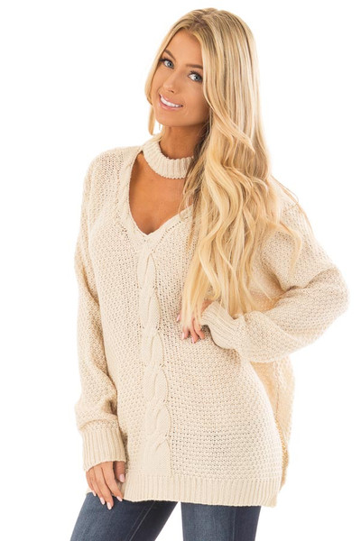 Ivory Cable Knit V Neck Sweater with Choker Band front close up