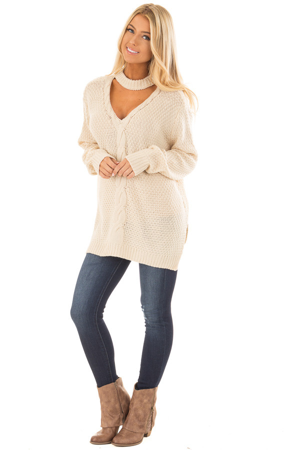 Ivory Cable Knit V Neck Sweater with Choker Band front full body