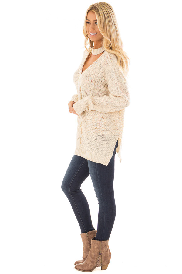 Ivory Cable Knit V Neck Sweater with Choker Band side full body