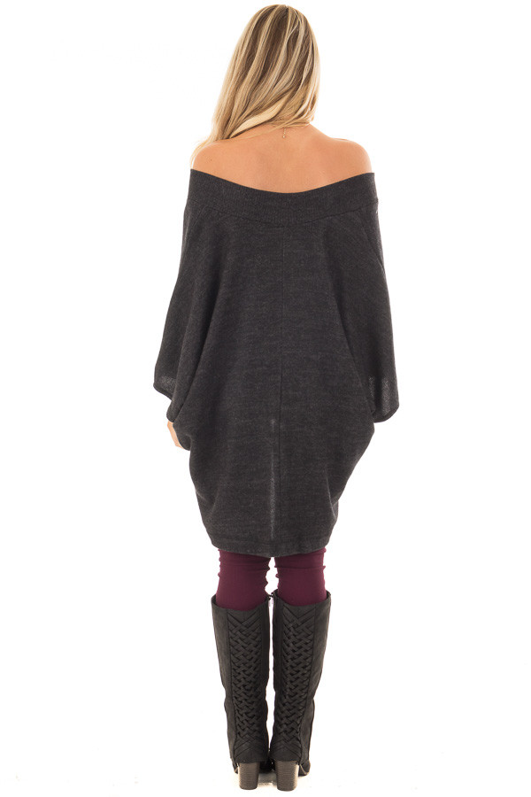 Charcoal Super Soft Knit Loose Fit Poncho back full body