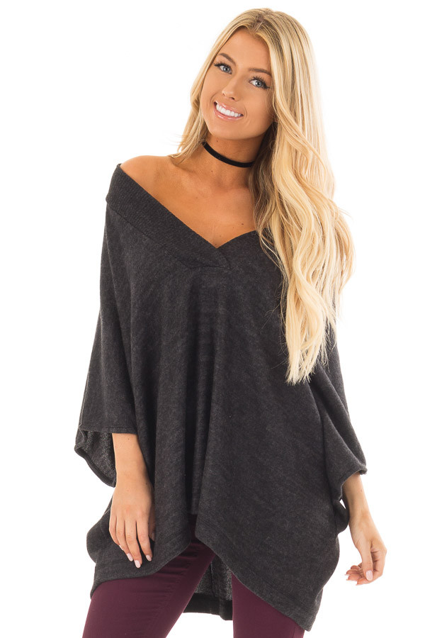 Charcoal Super Soft Knit Loose Fit Poncho front close up