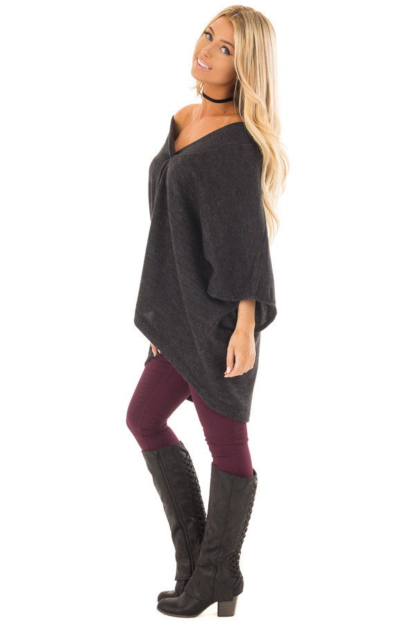Charcoal Super Soft Knit Loose Fit Poncho side full body