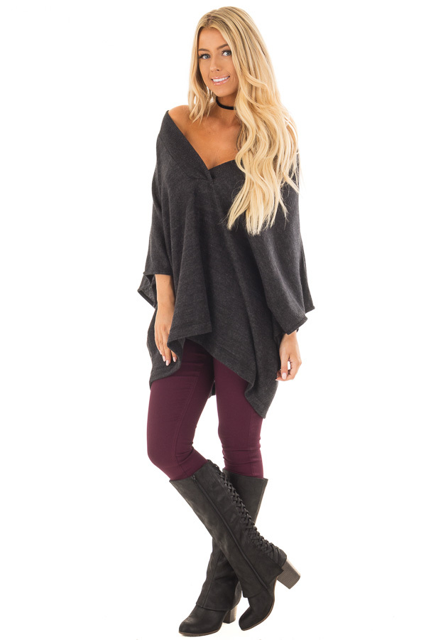 Charcoal Super Soft Knit Loose Fit Poncho front full body