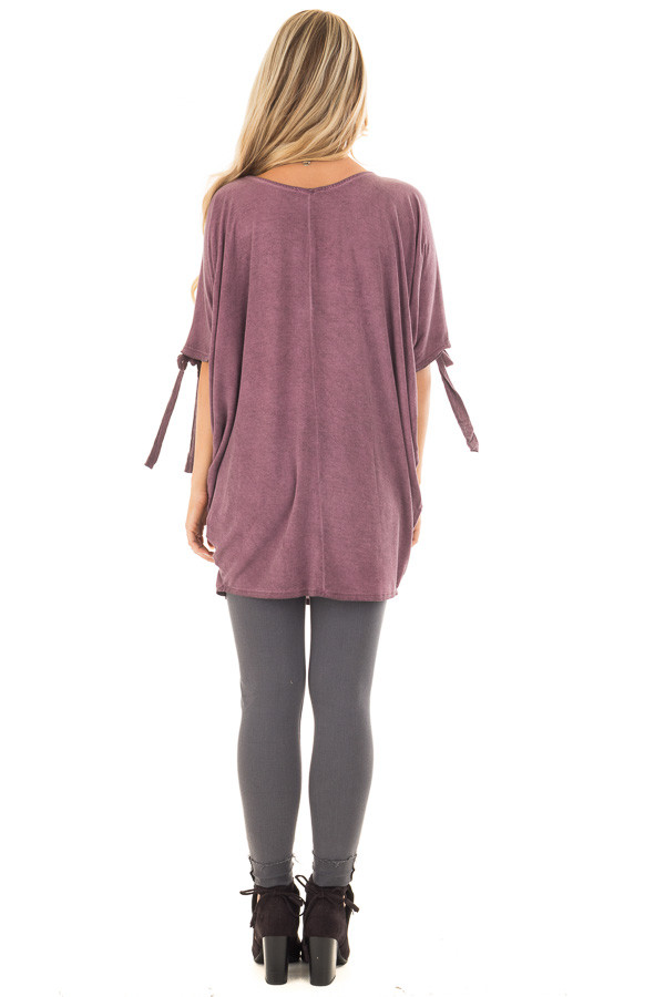 Plum Mineral Wash Tunic with Cut Out Sleeve Ties back full body