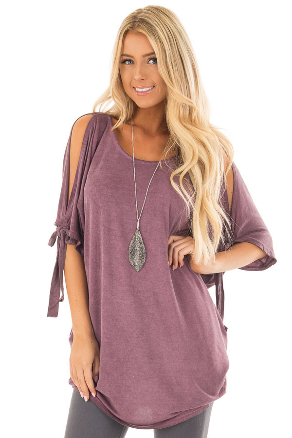 Plum Mineral Wash Tunic with Cut Out Sleeve Ties front close up