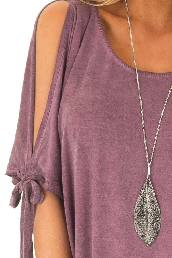 Plum Mineral Wash Tunic with Cut Out Sleeve Ties detail
