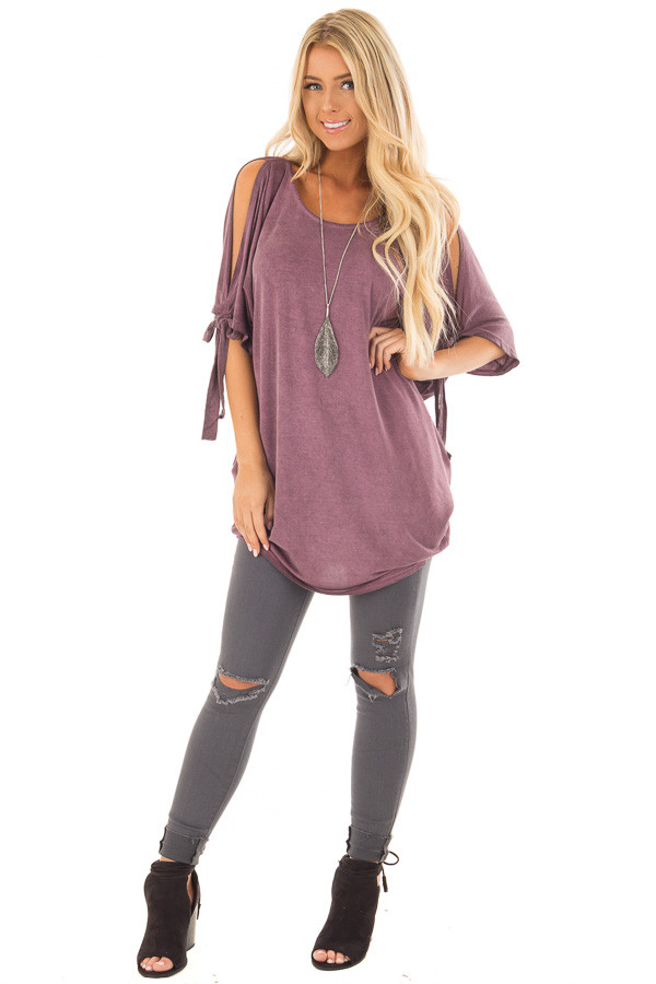 Plum Mineral Wash Tunic with Cut Out Sleeve Ties front full body