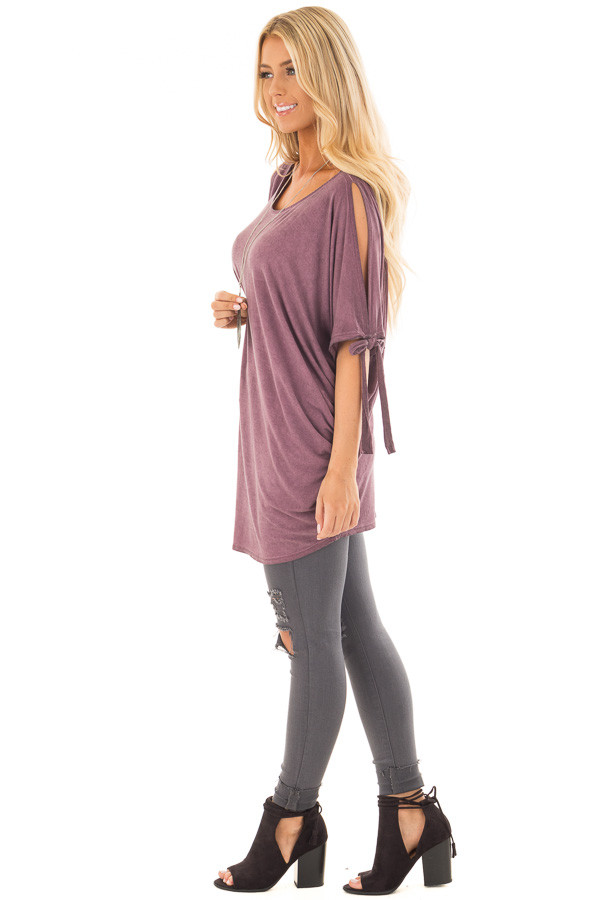 Plum Mineral Wash Tunic with Cut Out Sleeve Ties side full body