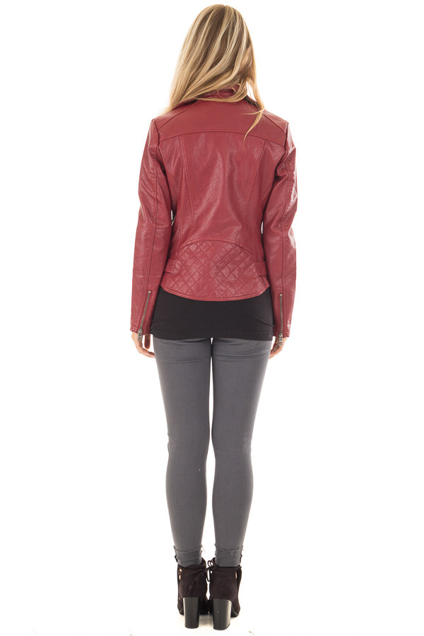 Deep Red Faux Leather Moto Jacket with Asymmetrical Zipper back full body